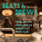 """Beats & Brews"" w/ DJ Whistleblower @ One World Brewing – Asheville NC."